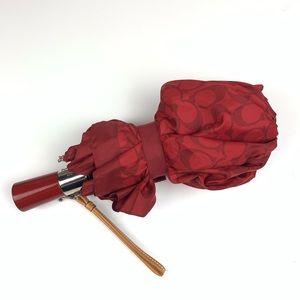 Coach signature c red umbrella leather wrist